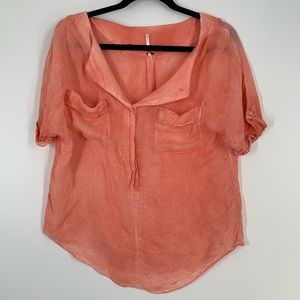 Free People Distressed Oversized Crop Shirt Size M